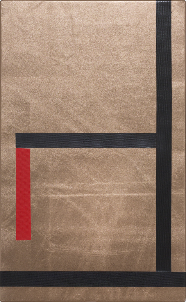 SARAH CROWEST  Cay Sophie Rabinowitz  2014 cloth tape on pleather 30 ×49 cm