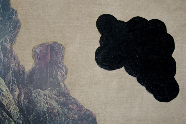 ELOISE KIRK  Orphan Cloud  2014 linen and collage 55 ×35 cm