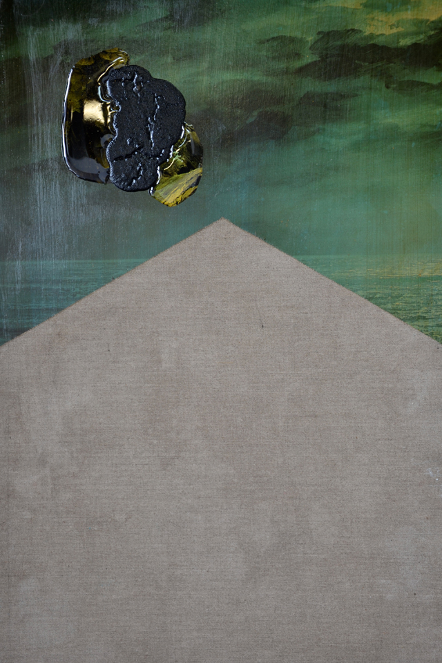 ELOISE KIRK  Something Like The End #2  2014 collage, acrylic and resin on board 58 × 38 cm