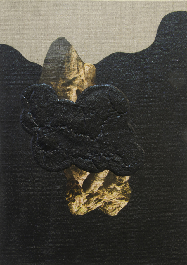 ELOISE KIRK  The Way Here  2014 collage, acrylic, binder, pigment and resin on linen 25 ×35 cm