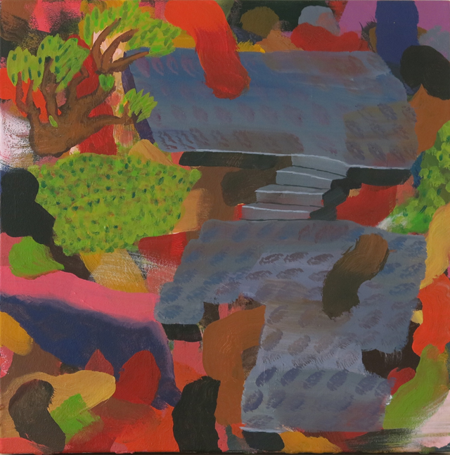 TIM PRICE   Concrete Steps  2014 acrylic on canvas 49 × 49 cm