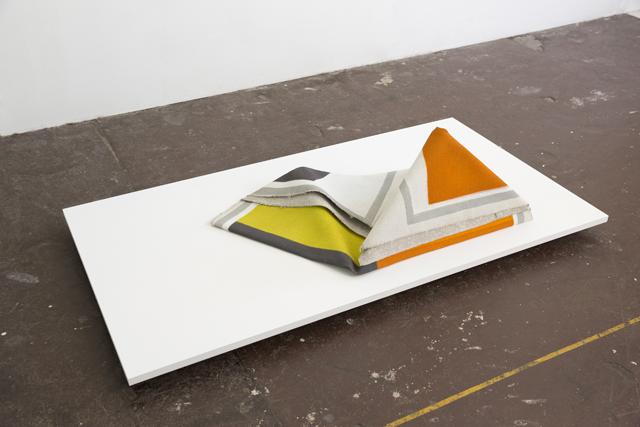 LYNNE EASTAWAY  Fold 2  2014 acrylic on heavy Belgian linen 40 ×40 ×5 cm