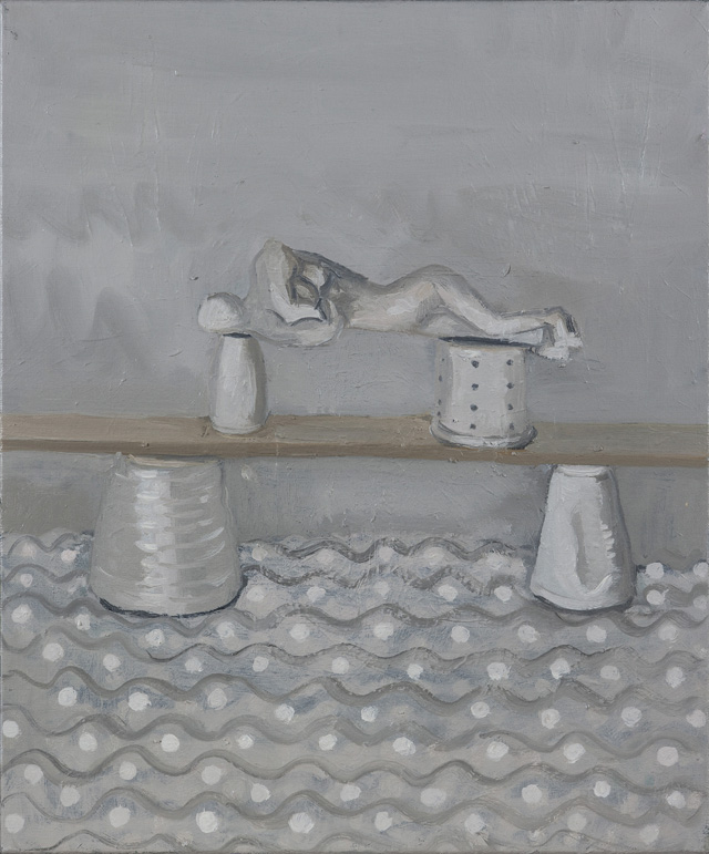 YVETTE COPPERSMITH  Single Span = Misshapen Pearl  2014 oil on linen 61 × 51 cm