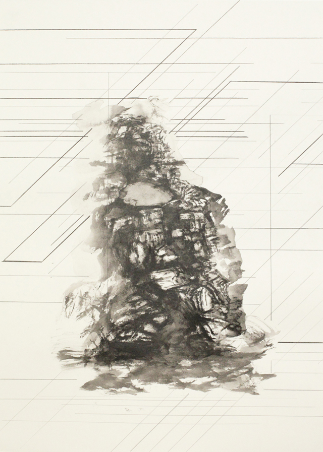 PETER NELSON  Ink mountain (The Lost Man)  #2 2014 Ink and graphite on paper 38 ×54 cm