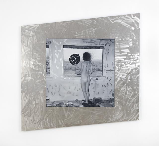 ANNA KRISTENSEN  Desert Window 2014 stainless steel and oil on linen 169 ×168 cm