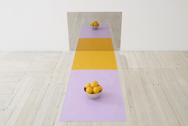 ANNA KRISTENSEN  Figure Ground  POA 2014 mirror polished stainless steel,linen, bowl, oranges dimensions variable