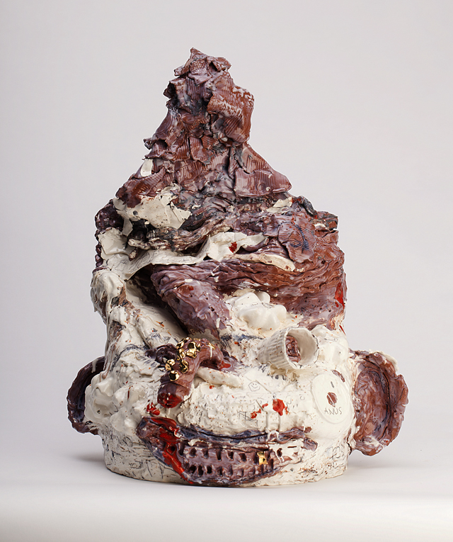 RAMESH MARIO NITHIYENDRAN  Adam (Prolapsed Head)  2014 red terracotta white earthenware, glaze, ceramic underglaze pencil and gold lustre 75 ×56 ×35 cm