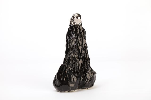 RAMESH MARIO NITHIYENDRAN  Black Phallus  2014 white earthenware, glaze and platinum lustre 21 ×13 ×7 cm (optional Hebel plinth: gratis)