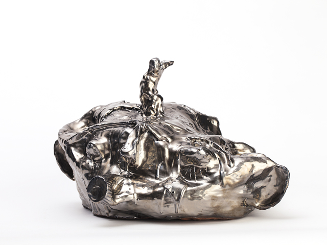 RAMESH MARIO NITHIYENDRAN  Silver Dickhead (bum-mouth)  2014 red terracotta, white earthenware and glaze 34 × 60 × 40 cm (optional mirror plinth)