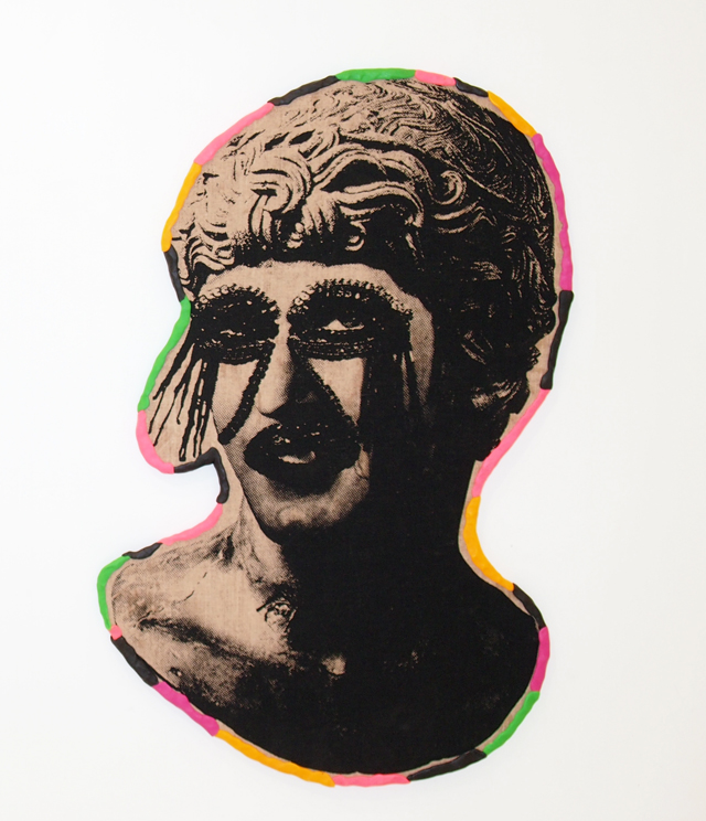 SARAH CONTOS  Ego (is not a dirty word)  2014 screenprint on linen,plywood, Fimo 72 ×46 cm