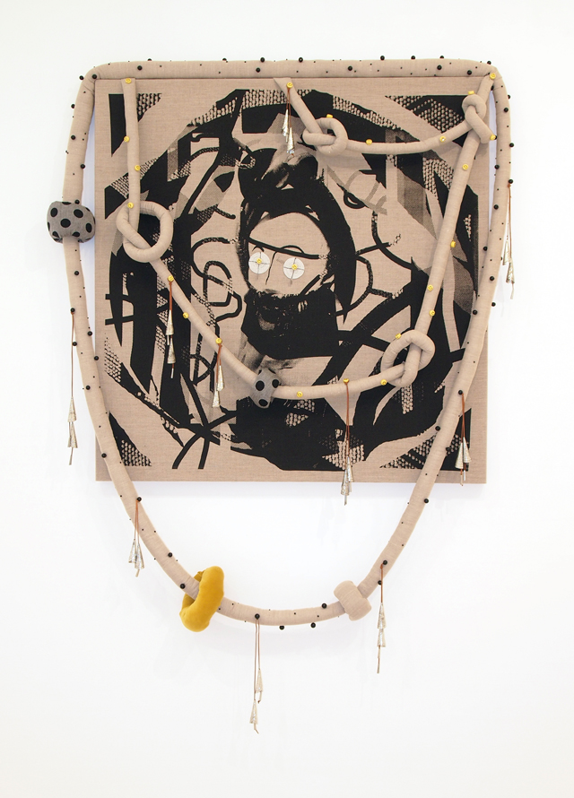 SARAH CONTOS  Knots of nots  2014 screenprint and collage on linen,velveteen, cotton, Poly-fil, leather, jingle cones,Masaai beadwork, beads, thread 139 ×136 cm