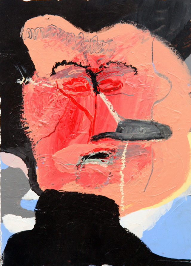 MATTHEW HOPKINS  Listening Subject #2  2014 acrylic, oil stick and chewing gum on wood 40 ×28.5 cm