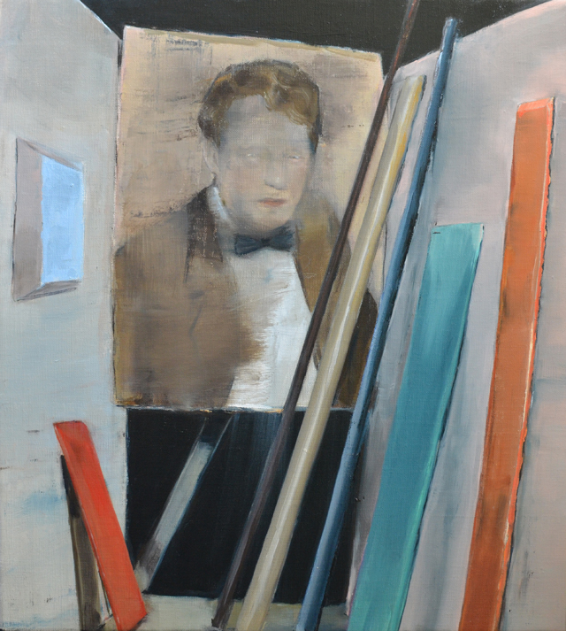 JELENA TELECKI  Critic (stick on a wall)  2014 oil on linen 46 ×51 cm