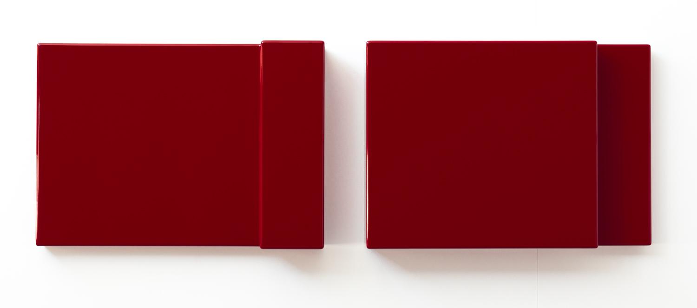 SUZIE IDIENS  Untitled (Red Pair)  2011 MDF, polyurethane (high gloss) 36 ×51 ×8 cm (each panel)