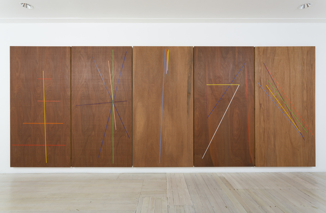 WHAT  Five Lines  2013 oil and Danish oil on marine ply,5 panels 244 ×122 cm (each)