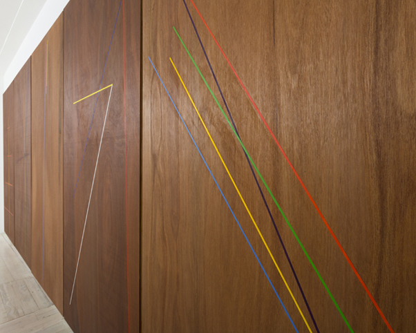 WHAT  Five Lines  (detail) 2013 oil and Danish oil on marine ply 244 ×122 cm