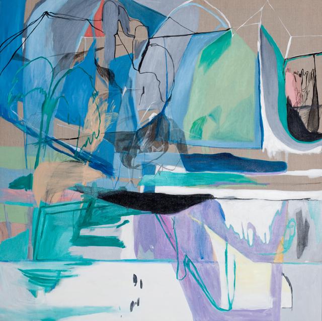 AMBER WALLIS  Palm / submerged elbow  2013  oil on canvas 150 ×150 cm