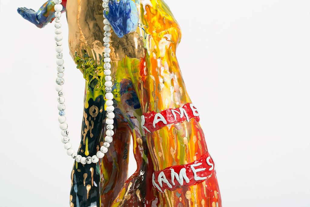 RAMESH MARIO NITHIYENDRAN  Multi-Limbed Dickhead 2015 earthenware, glaze, gold lustre and porcelain  107 ×52 ×29cm