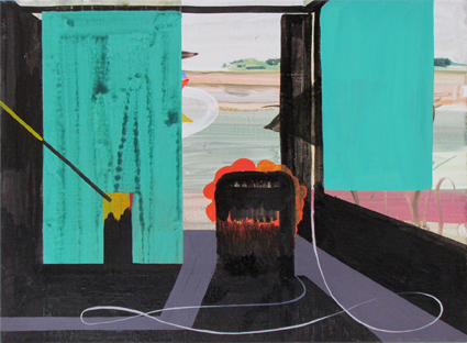 JULIAN HOOPER  Visitors  2012  acrylic on linen 56 × 76 cm
