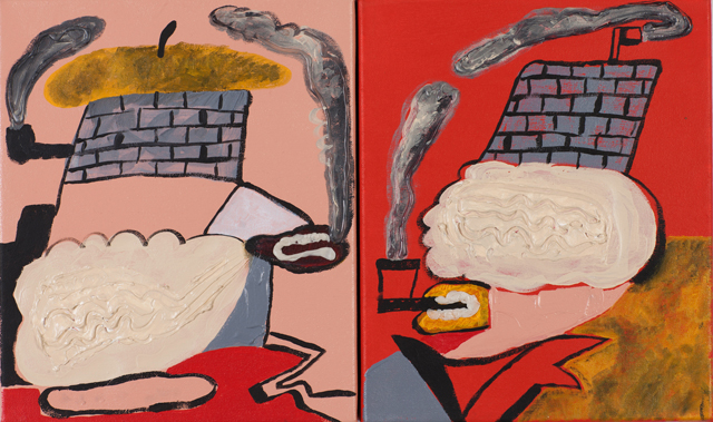 MATTHEW HOPKINS  Absurd walls  2012  acrylic, gel medium and impasto on canvas (diptych) 30 × 52 cm