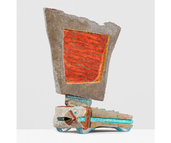 ANDRZEJ ZIELINSKI  Data Recovery?  2016 Australian sandstone, agate, zebra rock,West Australian variscite, river red gum wood, plywood, copper, acrylic and encaustic paint 78 × 66 × 33 cm