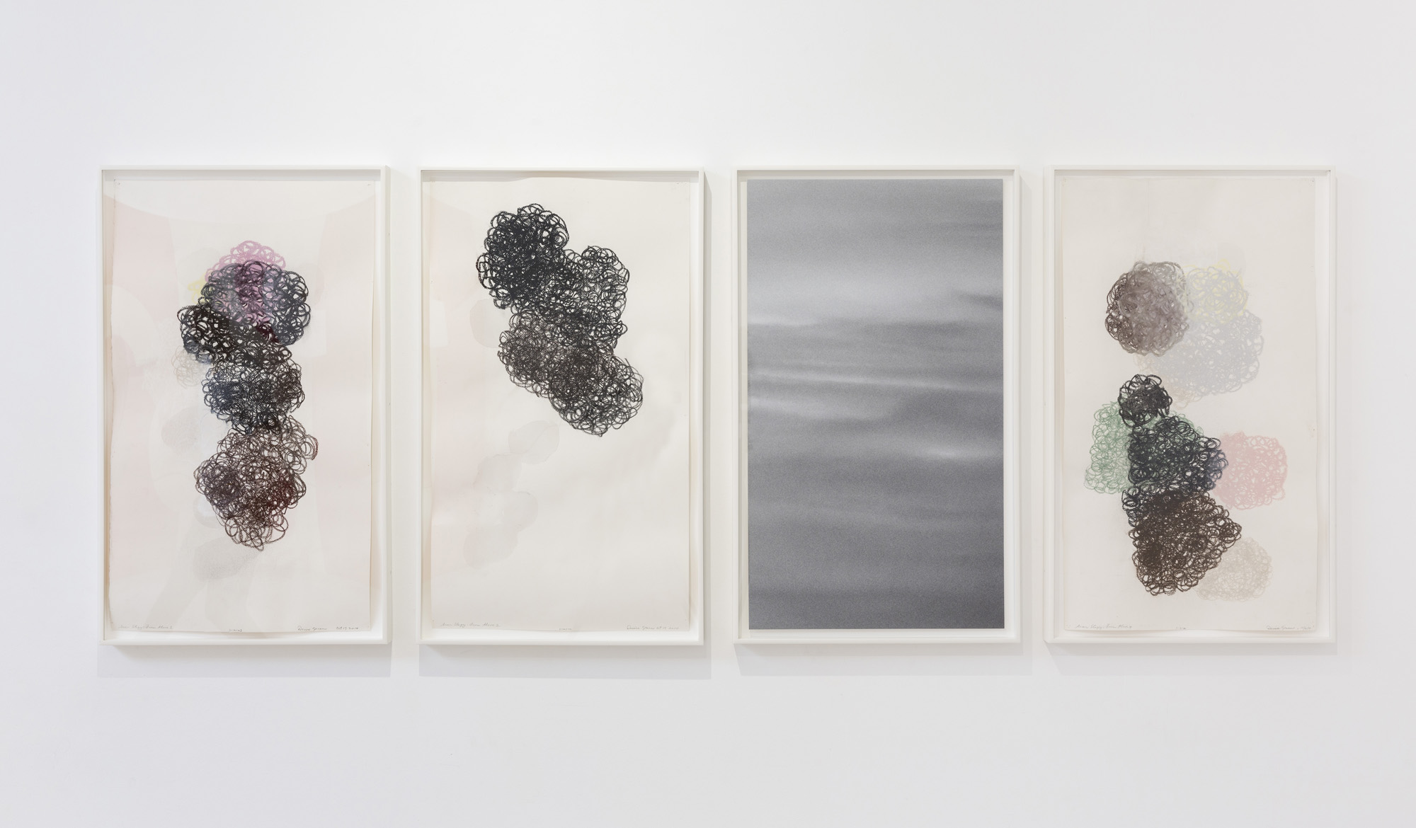 DENISE GREEN  Saar Elegy: From Above  2014 three works on paper and one photograph overall dimensions 75 × 188 cm
