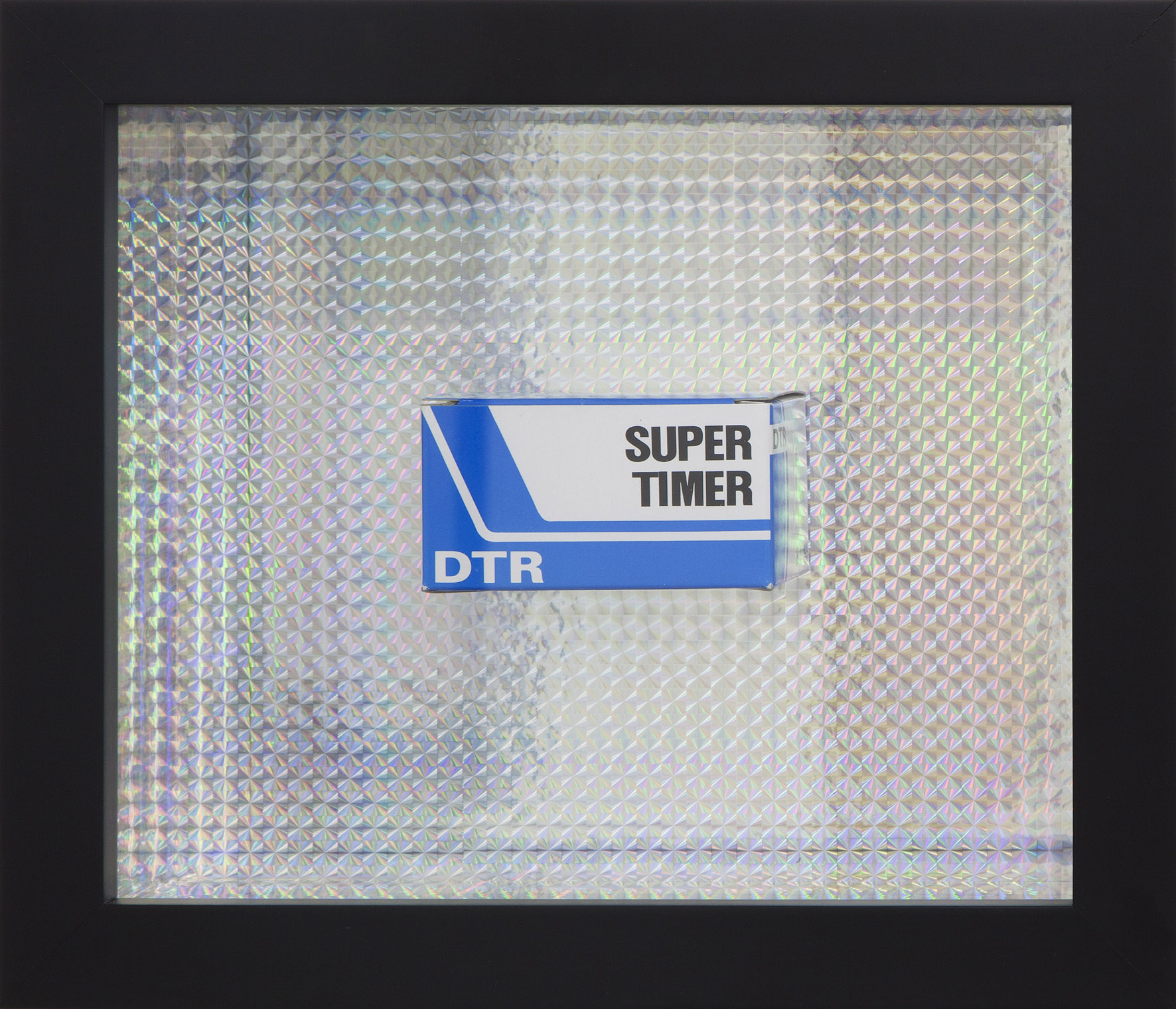 GILES RYDER  60 min restart – a modern meditative guarantee – want you back  2012 found Korean electronic timber box 60 mins in holographic lined frame 24.5 × 28.5 × 7.5 cm