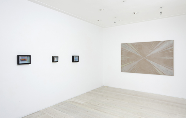 Installation view of group show's artworks