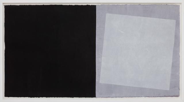 LYNNE EASTAWAY  Black / White / Grey squares  2010 gesso and acrylic gouache on kozo paper 74 × 141 cm (paper) /82 × 149 cm (framed)
