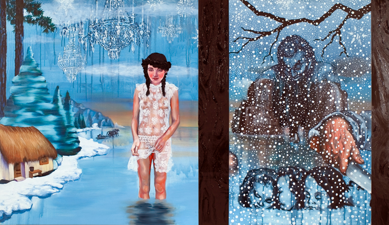 NANA OHNESORGE  Snow White  2006 acrylic, acrylic ink & oil on canvas 112 ×190 cm