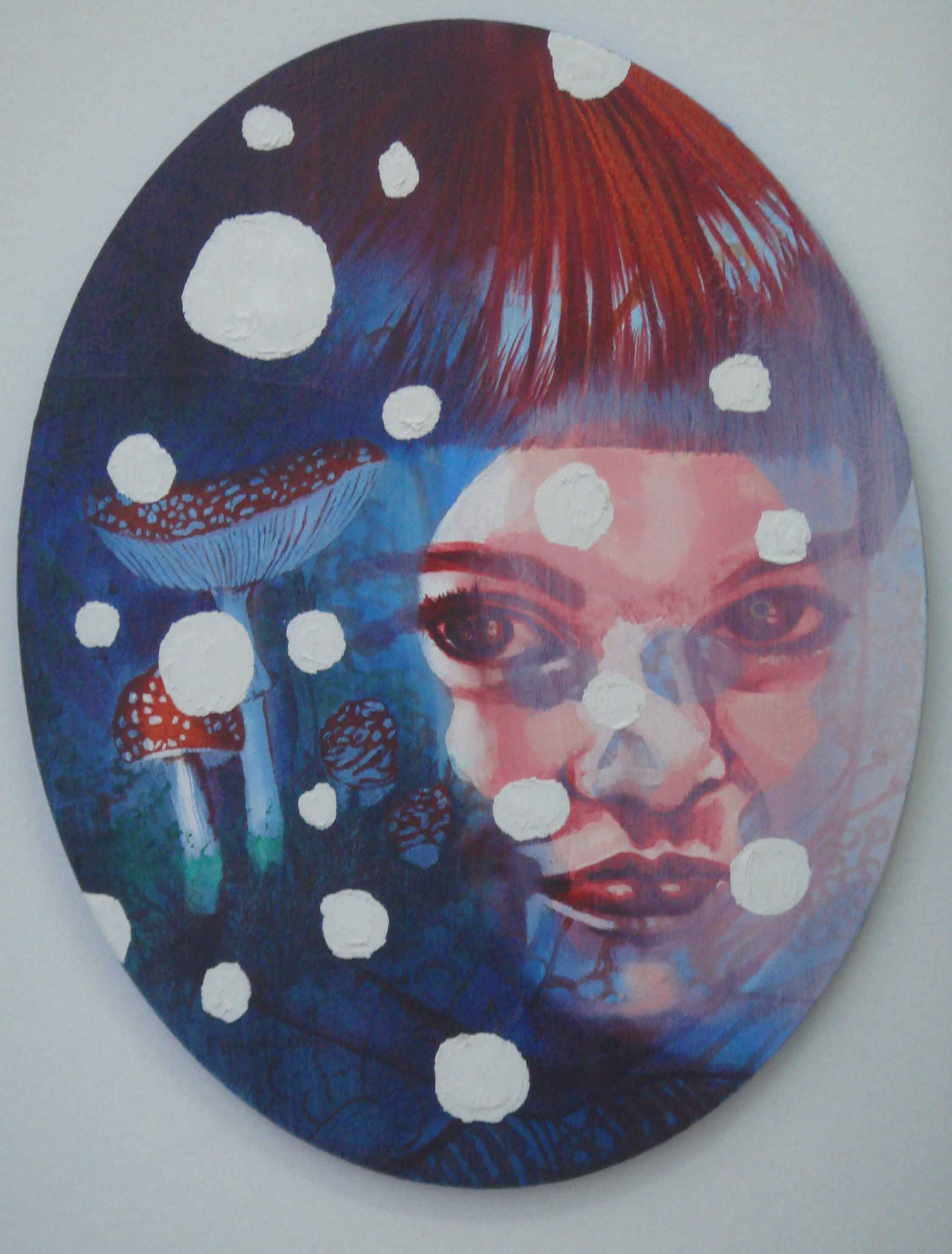 NANA OHNESORGE  Fliegenpilz  2007 fabric, glue, acrylic ink, acrylic & oil on canvas 51 ×40 cm