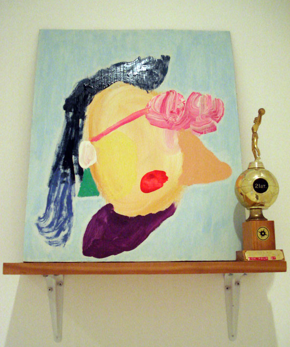 TOM POLO  It's not ALL about winning 2007 acrylic on board, found trophy & shelf