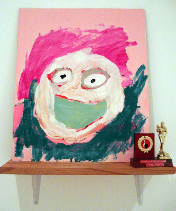 TOM POLO  Winners are grinners 2007 acrylic on board, found trophy & shelf
