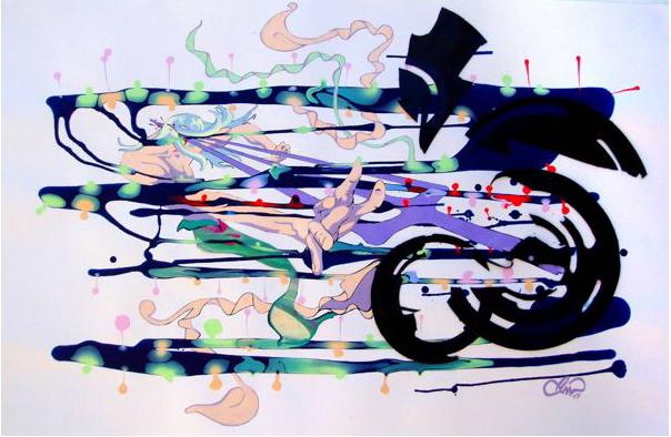 PHILL WILLIAMS  Hit Me Baby My Third Eye 2007 acrylic on paper 59 ×94 cm