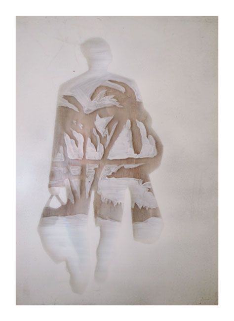 REBECCA PEARSON  The Tourist  2007 perspex, mixed media on wood 45 × 45 cm