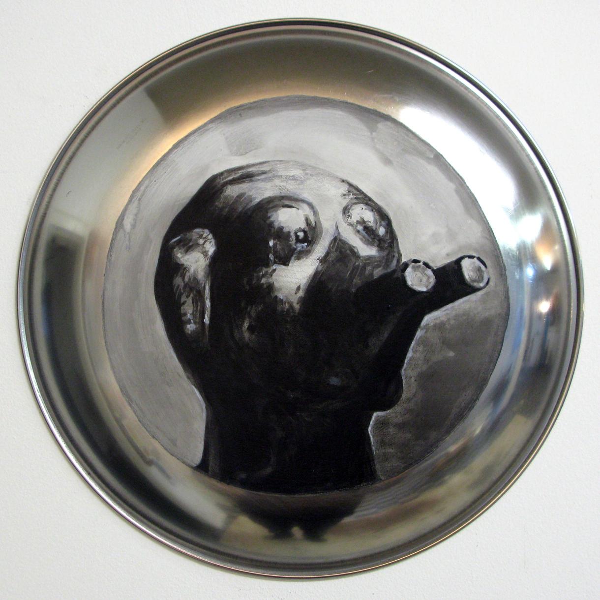 ADAM NORTON  Alien Head 1  2010 acrylic on steel  31 ×31 cm