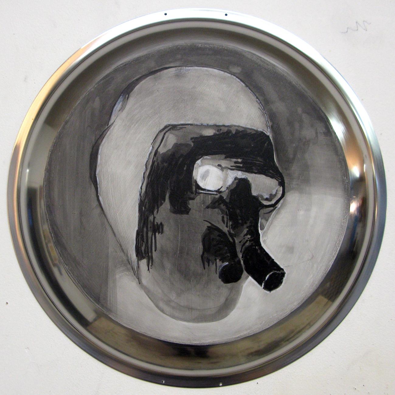 ADAM NORTON  Alien Head 2 2010 acrylic on steel 33 ×33 cm