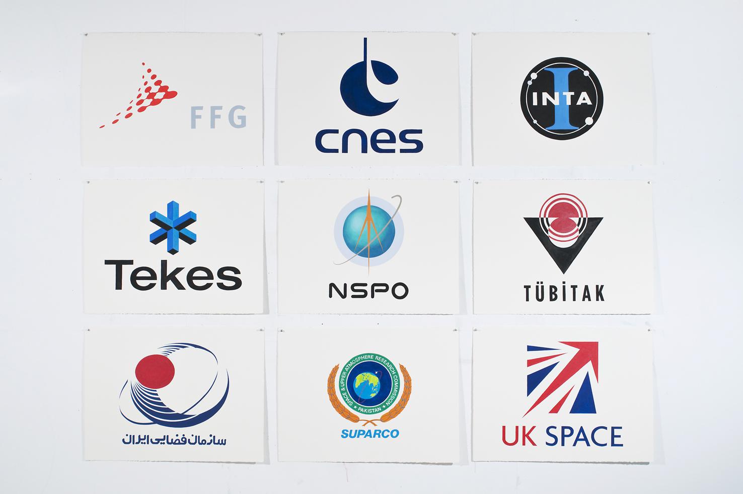 ADAM NORTON  Space Flags  2010 acrylic on paper 57 ×76 cm