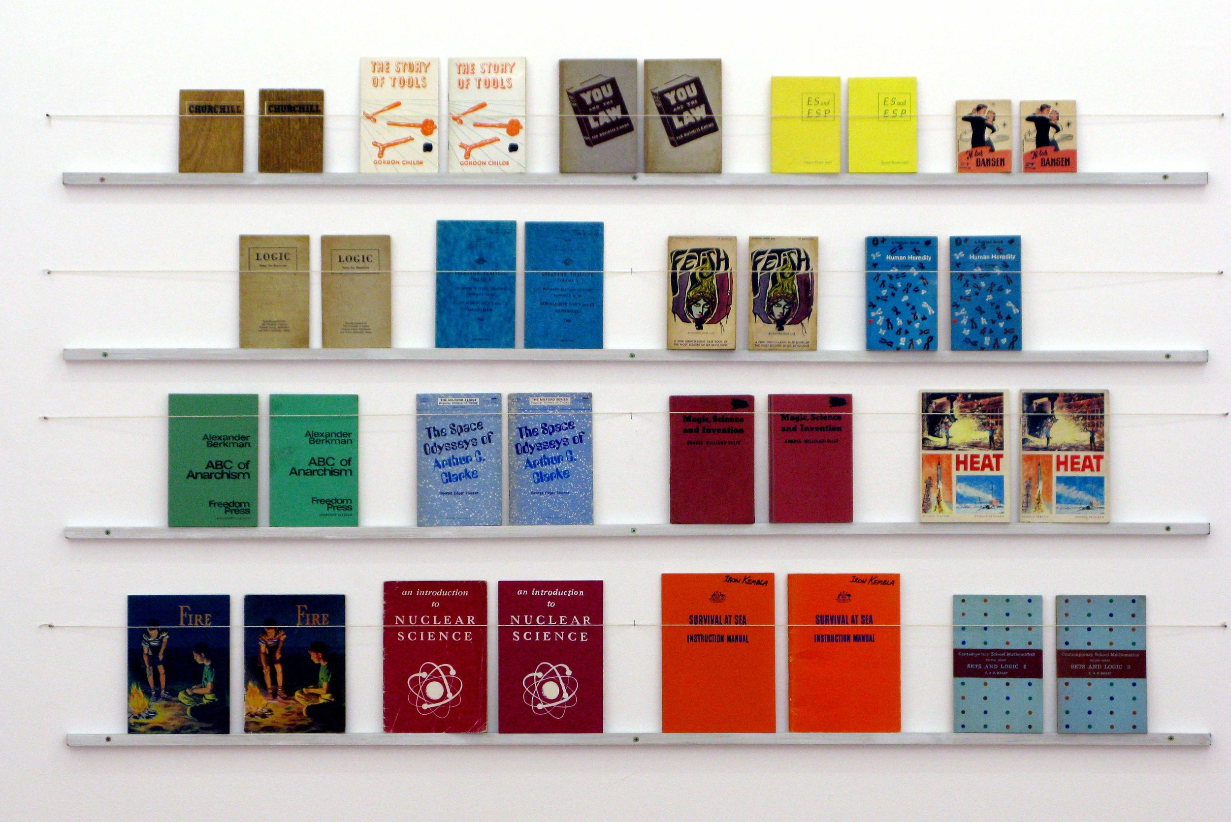 ADAM NORTON  Library of Truth and Fiction  2010 acrylic on board, found objects, timber and string 140 ×180 cm