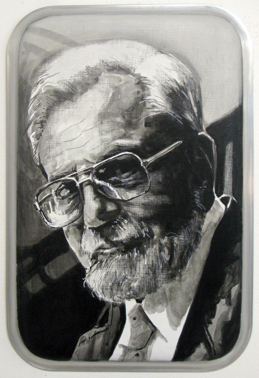 ADAM NORTON  Allen Hynek  2010 acrylic on aluminium 32 ×22 cm