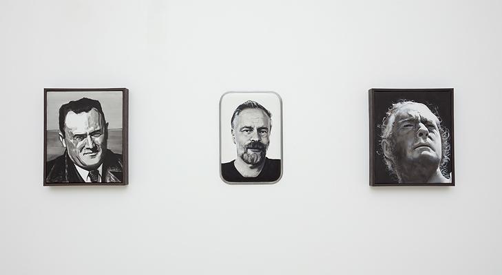 Installation view of Adam Norton's portrait paintings