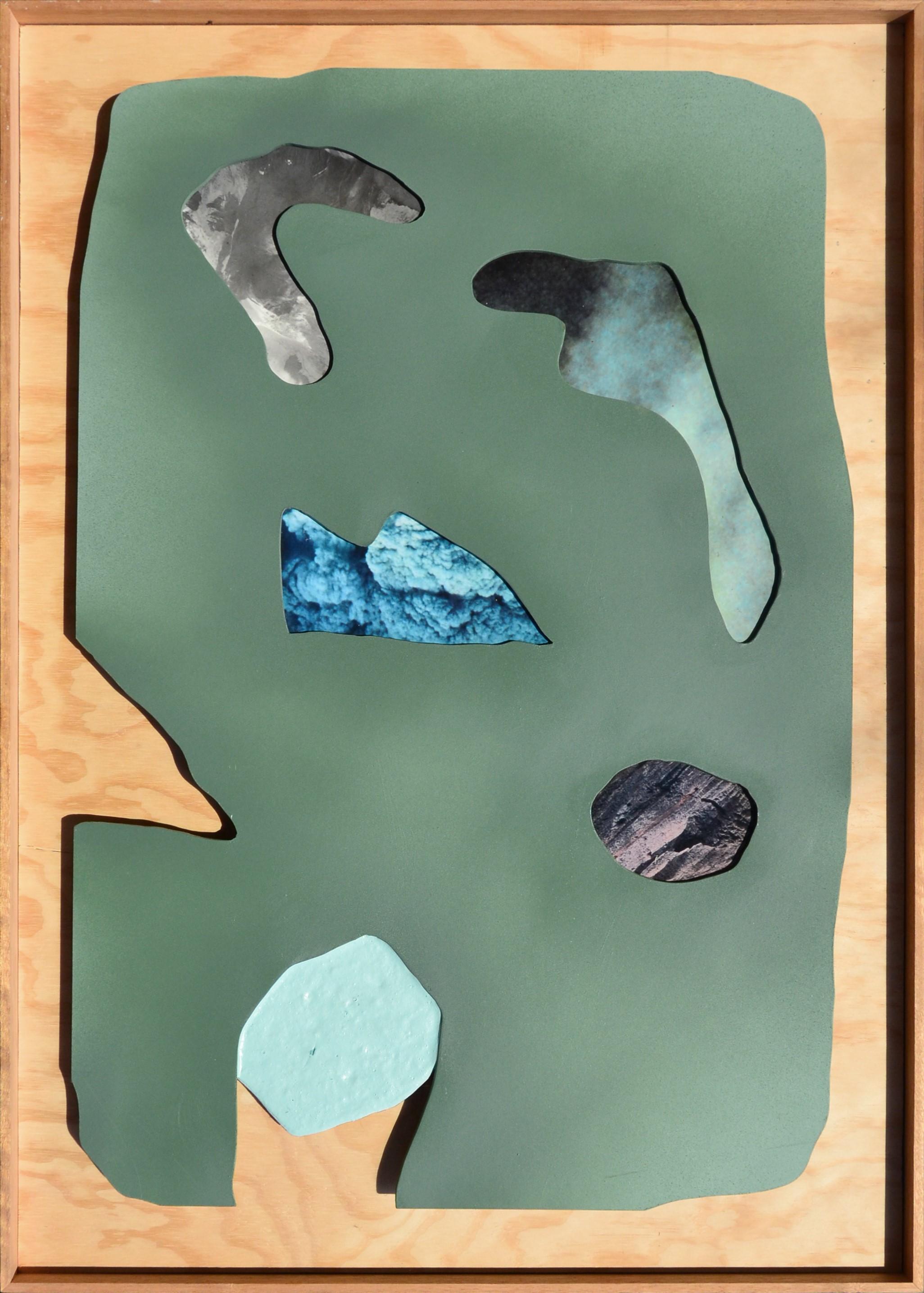 ELOISE KIRK  Northland  2018 collage, acrylic, resin on board 80 ×150 cm