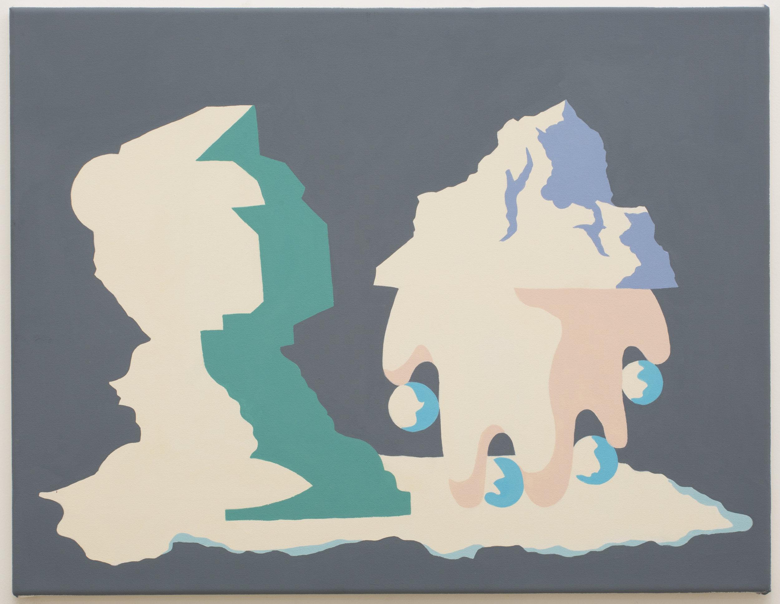 MICHELLE HANLIN  Sculptural Display  2018  Vinyl paint on canvas 51.5 x 66 cm