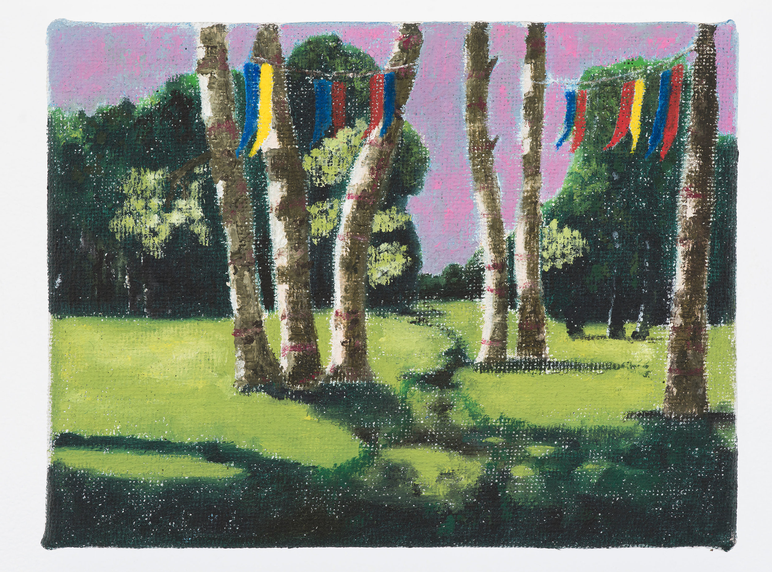 PETER ALWAST  Flag Day  2017 oil on hessian 31 x 24cm