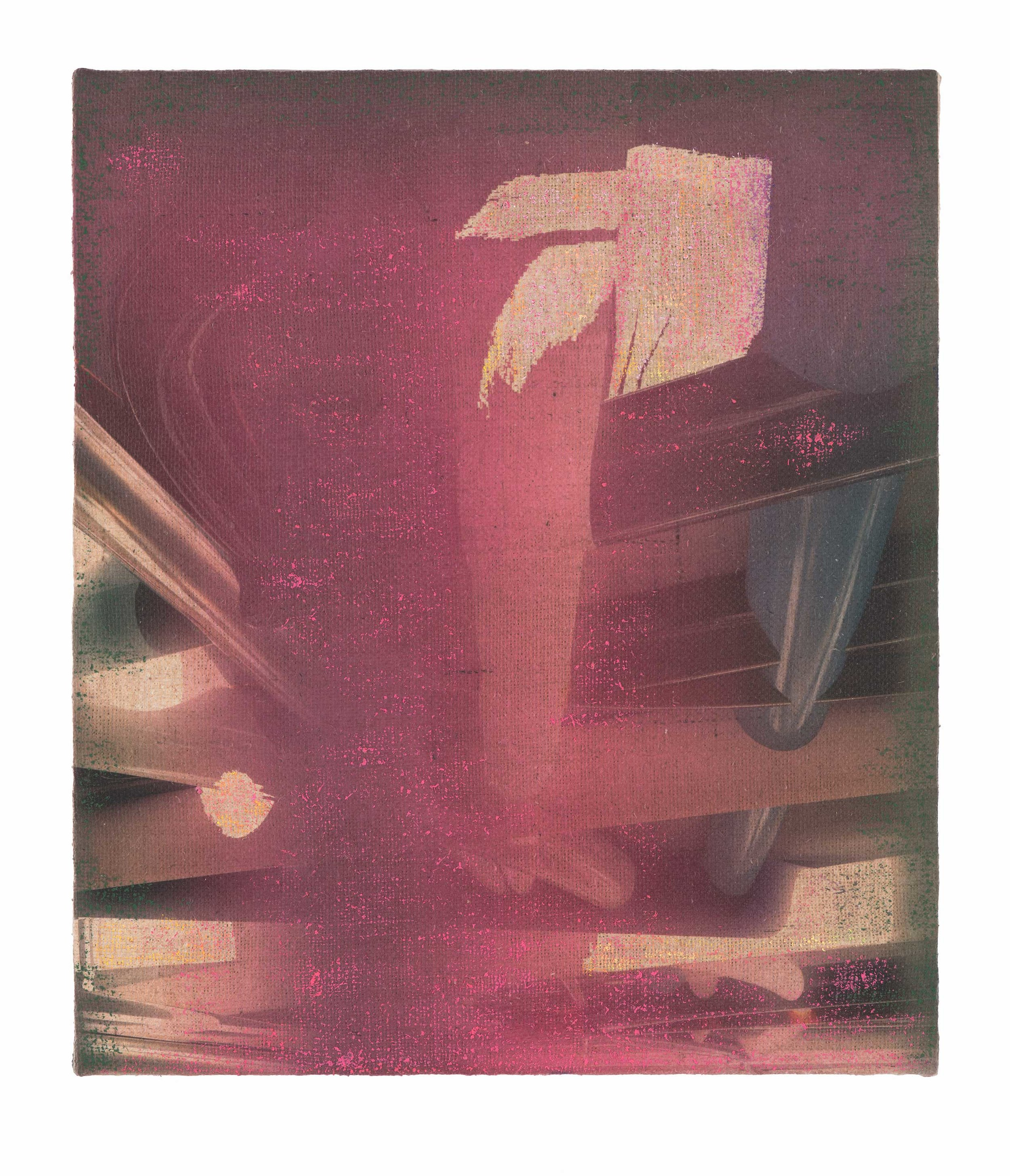 PETER ALWAST  Untitled (Pink)  2018  oil pastel, archival UV cured print on hessian, 35.5 x 50.5cm