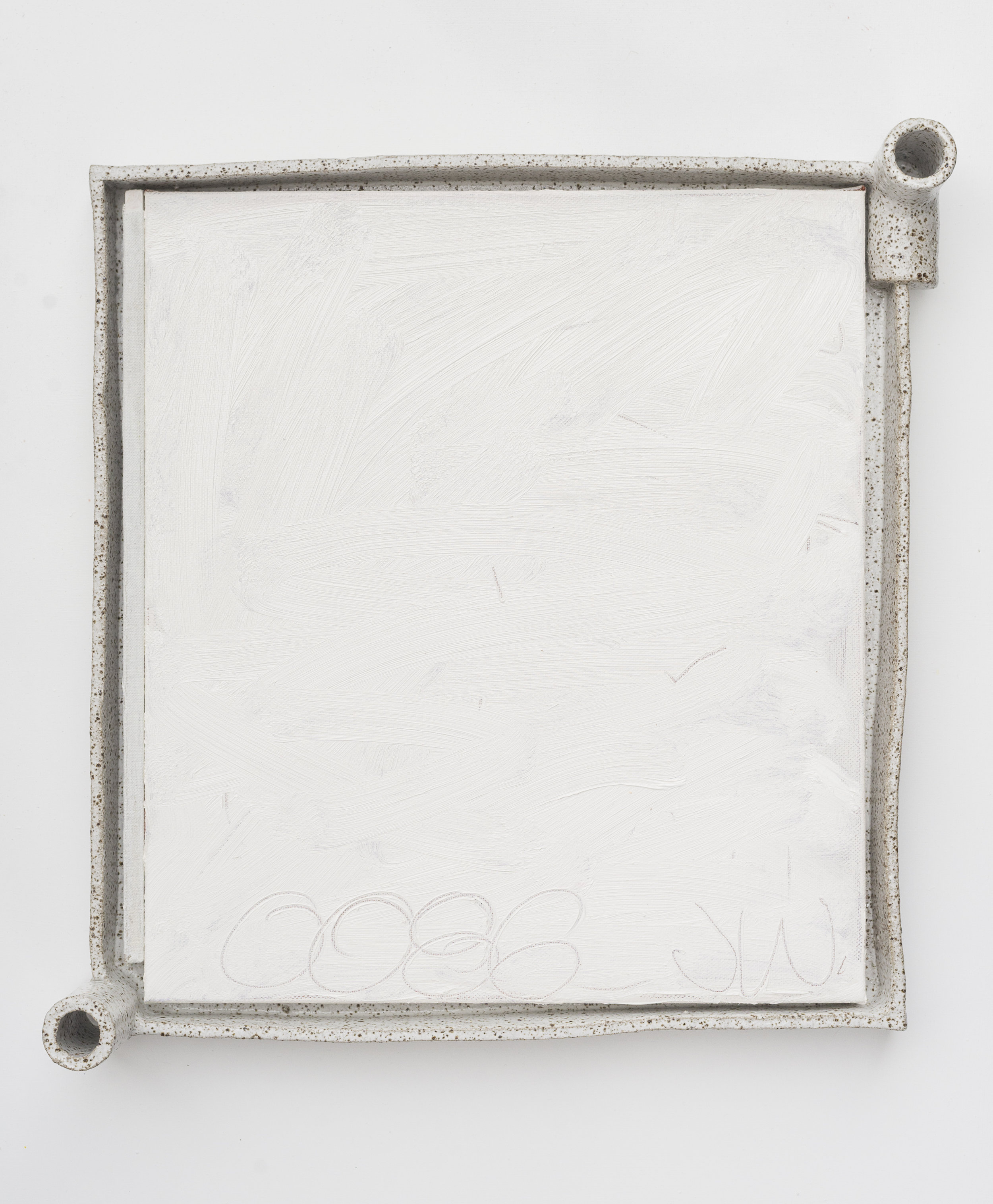 #0086  (2018) oil on linen, glazed stoneware frame 51 x 48 x 10 cm
