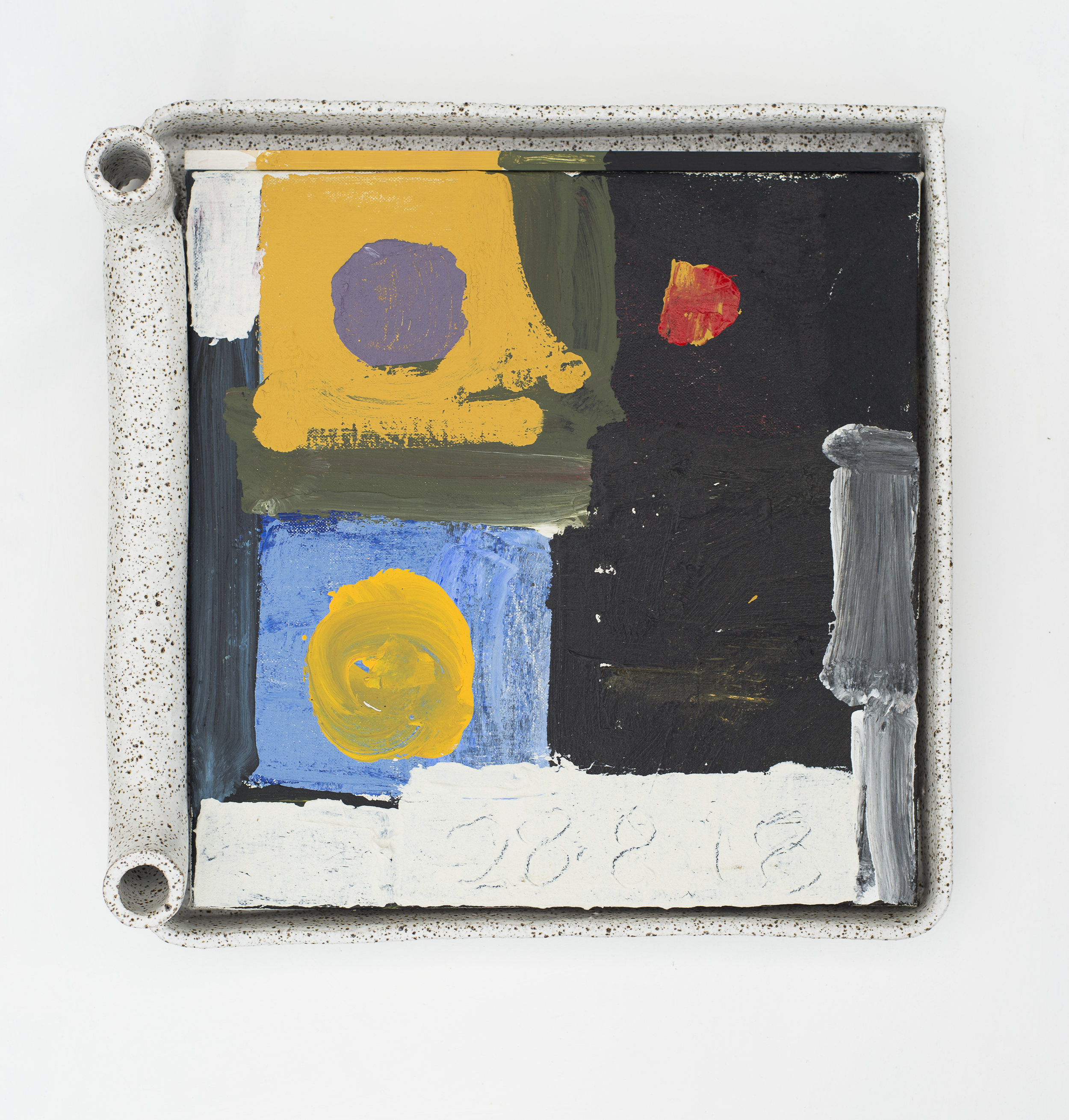 #0094  (2018) acrylic on linen, wood and glazed stoneware frame 44 x 43 x 11 cm