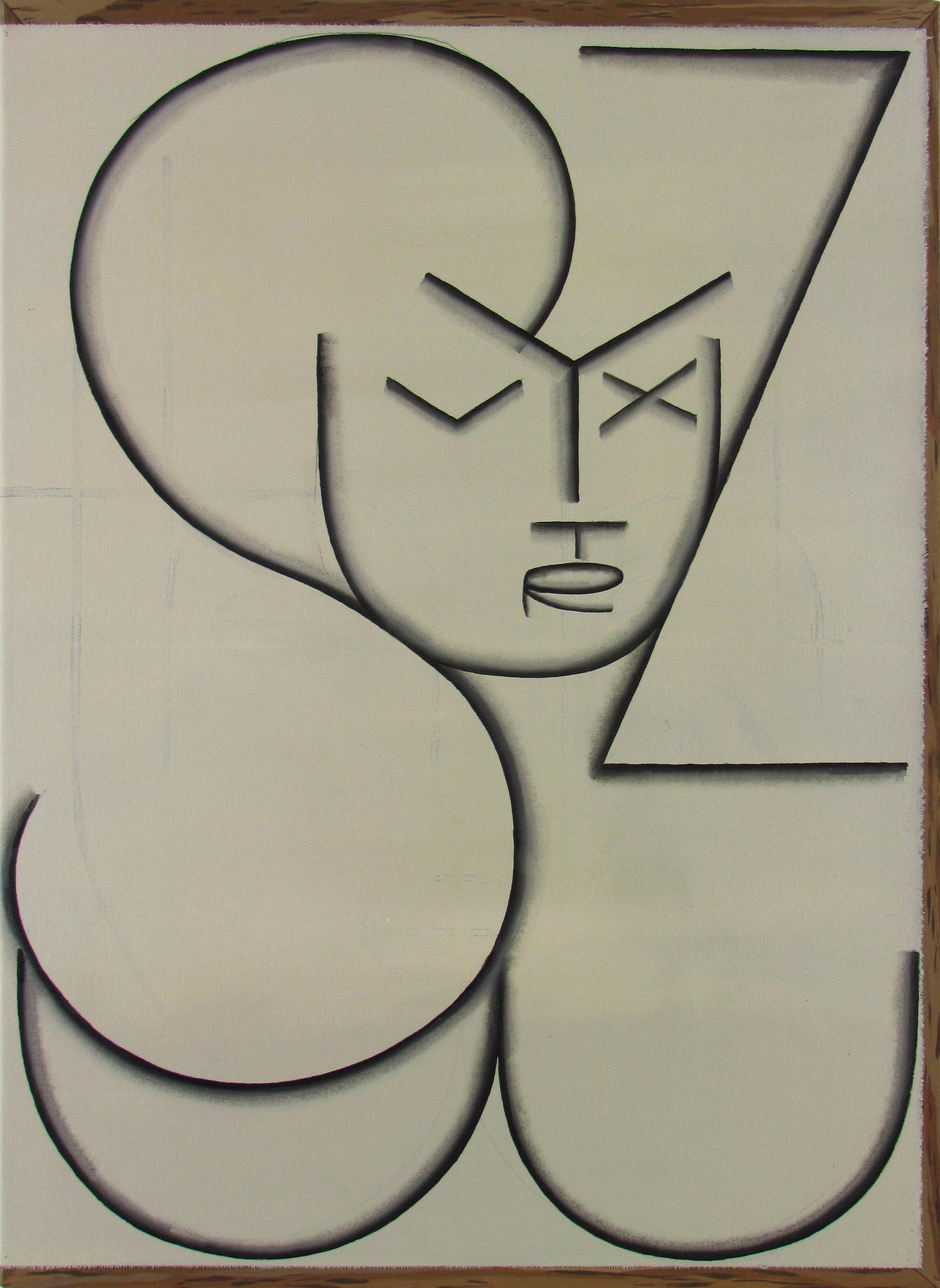 JULIAN HOOPER  STUVWXYZ  2018 Acrylic on canvas on linen 76 x 56 cm