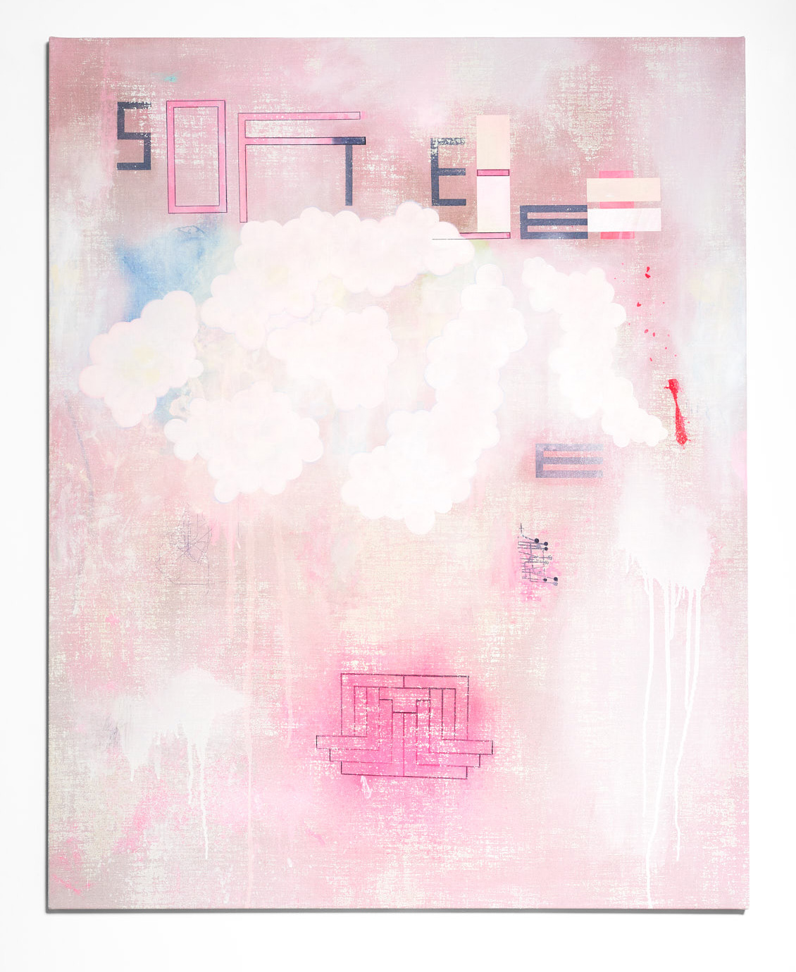SARAH crowEST  SOFT EEE  2018 (#1 pink) acrylic on linen 127 × 102 cm