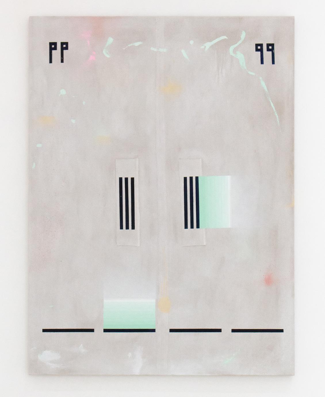 SARAH crowEST  Appliqué #6 (pause)  2018 linen, gesso, acrylic paint, linen and cotton thread 137 × 102 cm